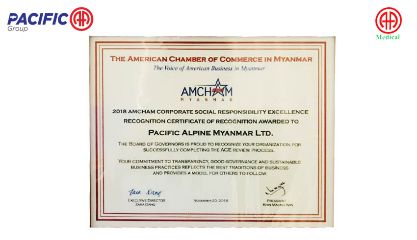 AMCHAM - Myanmar CSR Excellence Recognition 2018