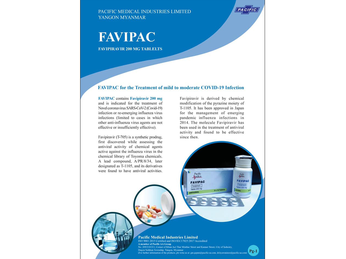 """Myanmar's first ever locally manufactured drug for Covid19 Pandemic: """"FAVIPAC (Favipiravir 200mg), COVID-19 treatment (oral tablets)"""